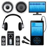 Ícones da música ajustados Fotografia de Stock