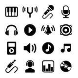 Ícones da música ajustados Foto de Stock Royalty Free