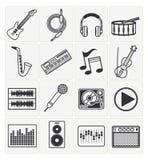 Ícones da música ajustados Imagens de Stock Royalty Free
