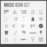 Ícones da música ajustados Imagens de Stock