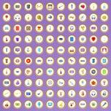 100 ícones da música ajustados no estilo dos desenhos animados Imagem de Stock