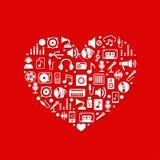 Ícones da música com coração Foto de Stock Royalty Free
