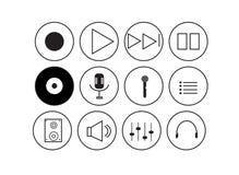 Ícones da música com fundo branco Fotografia de Stock Royalty Free