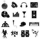 Ícones da música do DJ ajustados Imagem de Stock Royalty Free