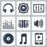 Ícones da música do vetor ajustados Fotos de Stock Royalty Free