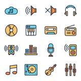 Ícones da música e do som ilustração stock