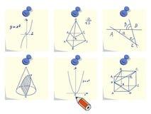 Ícones da matemática e da geometria Fotografia de Stock Royalty Free