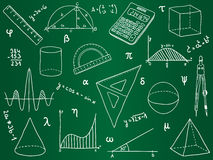 Ícones da matemática na placa de escola Fotos de Stock Royalty Free