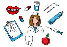 Ícones da medicina dental e da odontologia Fotografia de Stock