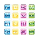 Ícones da medicina do Aqua Foto de Stock
