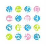 Ícones da medicina do círculo da mola Fotografia de Stock Royalty Free