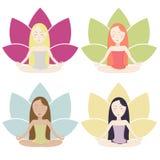 Ícones da meditação ajustados Ilustração Royalty Free