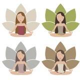 Ícones da meditação ajustados Fotografia de Stock