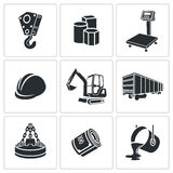 Ícones da metalurgia ajustados Imagem de Stock Royalty Free