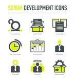Ícones da metodologia do desenvolvimento do scrum foto de stock