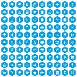 100 ícones da microbiologia ajustados azuis ilustração do vetor