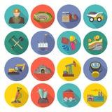 Ícones da mineração lisos Fotografia de Stock Royalty Free
