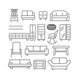 Ícones da mobília do vetor ajustados ilustração royalty free