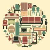 Ícones da mobília e dos interiores Fotografia de Stock Royalty Free