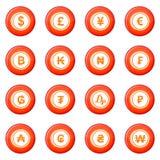 Ícones da moeda ajustados ilustração do vetor