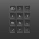 Ícones da moeda do dinheiro do botão Fotos de Stock