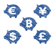 Ícones da moeda do mealheiro com efeito tirado mão ilustração do vetor