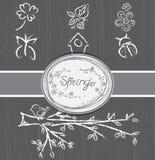 Ícones da mola desenhados à mão fotografia de stock royalty free