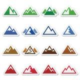 Ícones da montanha ajustados Fotografia de Stock Royalty Free