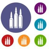 Ícones da munição da bala ajustados ilustração royalty free