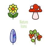 Ícones da natureza de objetos da floresta Imagens de Stock
