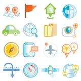Ícones da navegação do mapa Fotos de Stock
