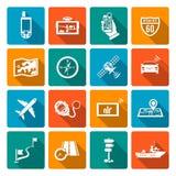 Ícones da navegação lisos Imagem de Stock Royalty Free