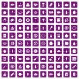 100 ícones da nutrição ajustaram o grunge roxo Imagens de Stock