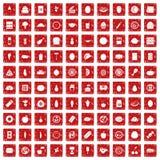 100 ícones da nutrição ajustaram o grunge vermelho Fotos de Stock