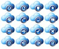 Ícones da nuvem azuis Foto de Stock