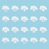 Ícones da nuvem do vetor ajustados Imagens de Stock