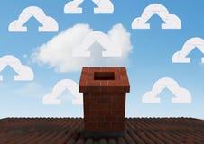Ícones da nuvem sobre a chaminé do telhado Fotos de Stock