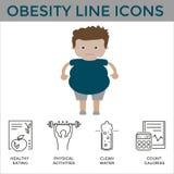 Ícones da obesidade Foto de Stock Royalty Free