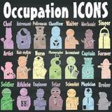 Ícones da ocupação no giz Imagem de Stock