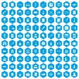 100 ícones da ofensa ajustados azuis ilustração royalty free