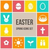 Ícones da Páscoa ajustados Imagens de Stock