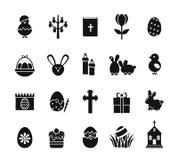 Ícones da Páscoa O feriado cristão da mola preto e branco assina como o ovo do coelho, cruz da galinha Foto de Stock