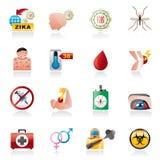 Ícones da pandemia do vírus de Zika ilustração royalty free