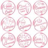 Ícones da pastelaria do vetor Foto de Stock Royalty Free