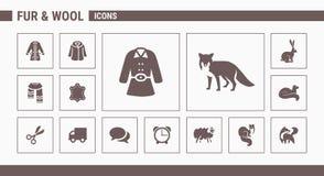 Ícones da pele & das lãs - ajuste a Web & o móbil 01 ilustração stock