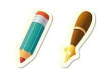 Ícones da pena e do lápis Imagens de Stock