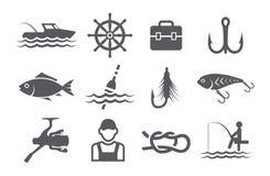 Ícones da pesca ilustração stock