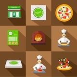 Ícones da pizza com pizaria e grupo do cozinheiro chefe Foto de Stock Royalty Free