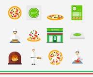 Ícones da pizza com pizaria e grupo do cozinheiro chefe Fotografia de Stock