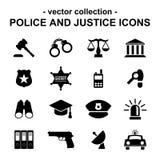 Ícones da polícia e da justiça ilustração stock
